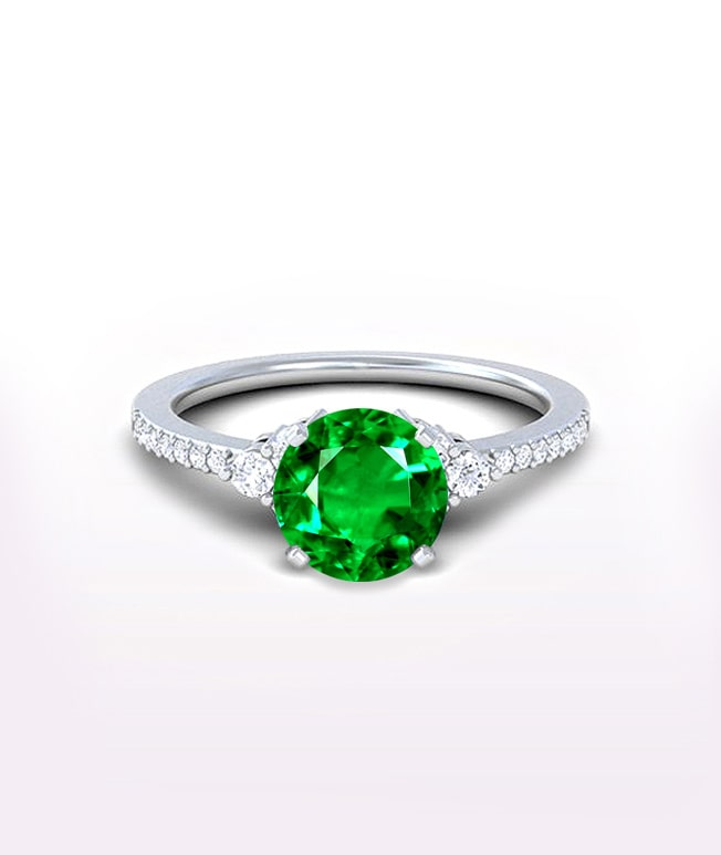 Emerald Side Stone Rings