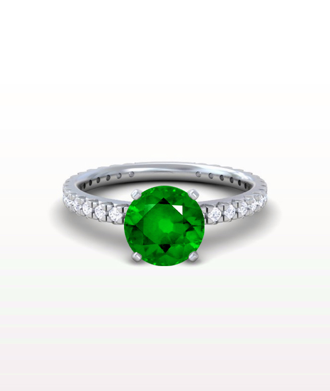 Emerald Classic Pave Rings