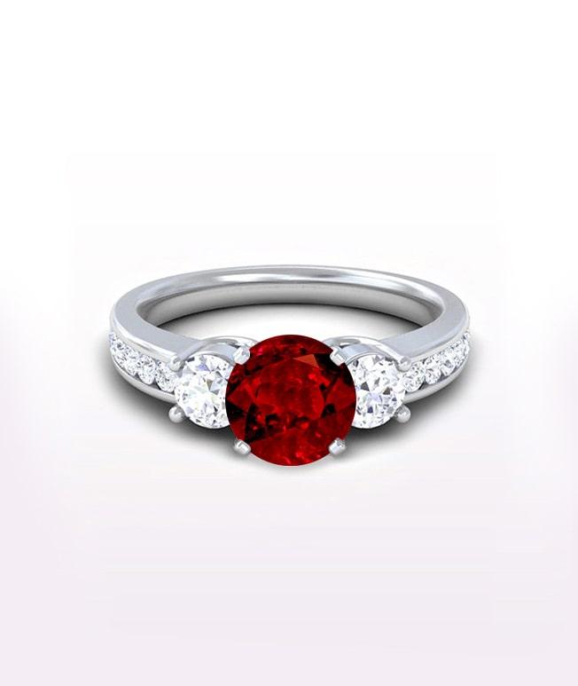 Ruby Three Stone Rings