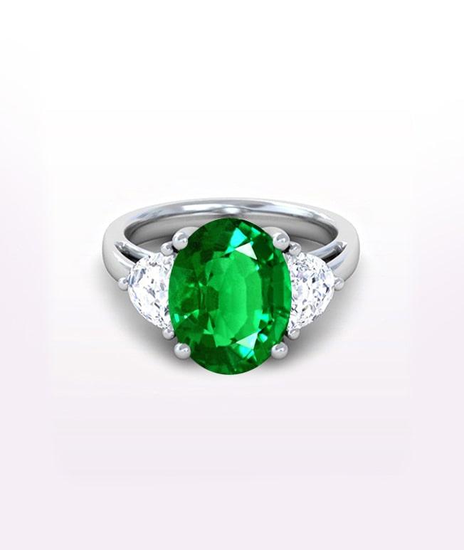 Emerald Three Stone Ring