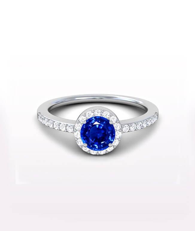 Halo Side Stone Ring