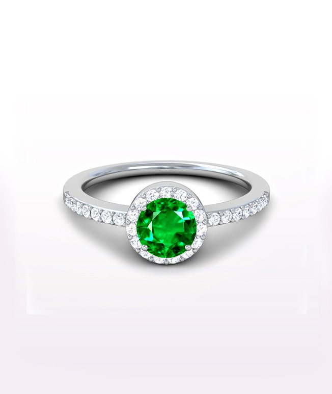 Emerald Halo Side Stone Rings