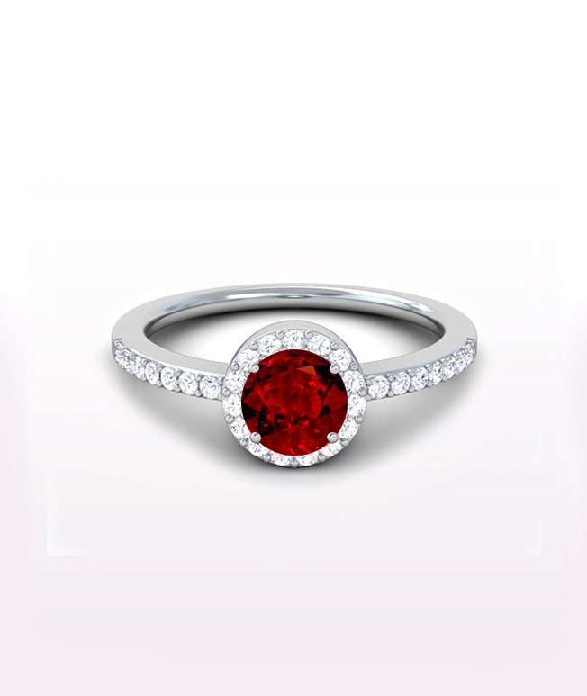Ruby Halo Side Stone Rings
