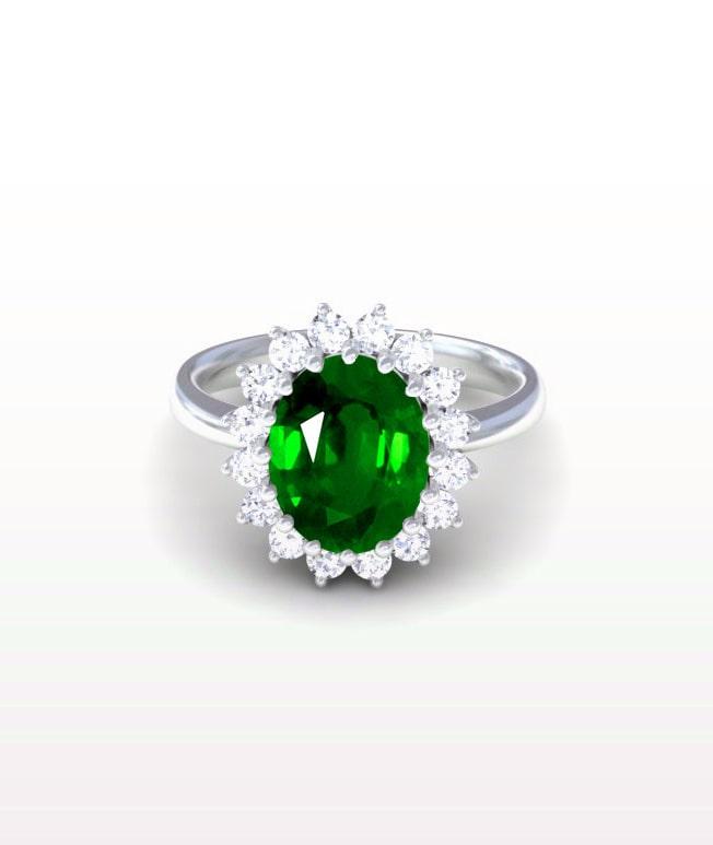 Emerald Princess Diana Replica Ring