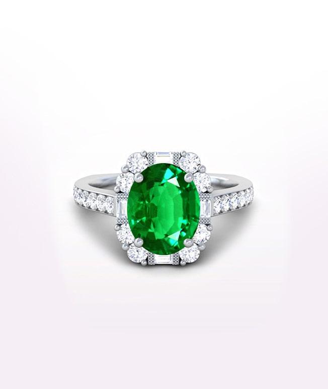 Emerald Halo Side Stone Ring