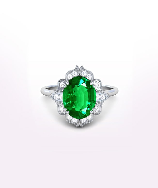 Emerald Antique Halo Ring