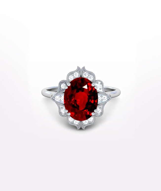 Ruby Antique Halo Rings