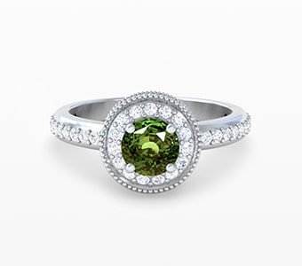 GemsNY Alexandrites Halo Engagement Rings