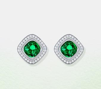 GemsNY Emerald Side Stones Earrings
