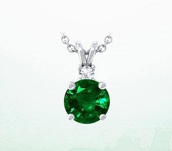GemsNY Emerald Solitiare Pendants