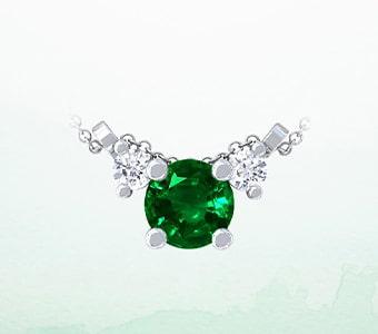 GemsNY Emerald Three Stone Pendants