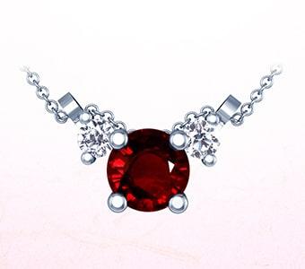 GemsNY Ruby Three Stone Pendants
