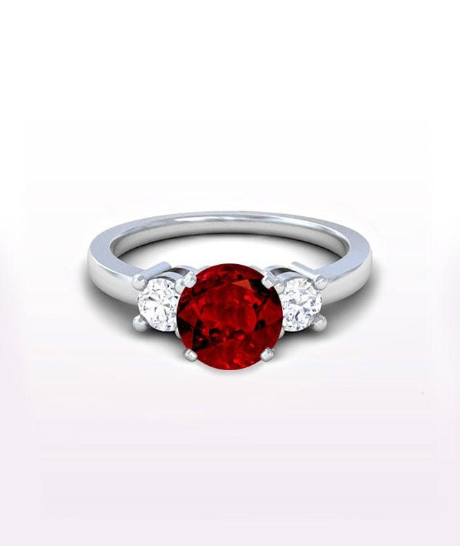 Ruby Three Stone Ring