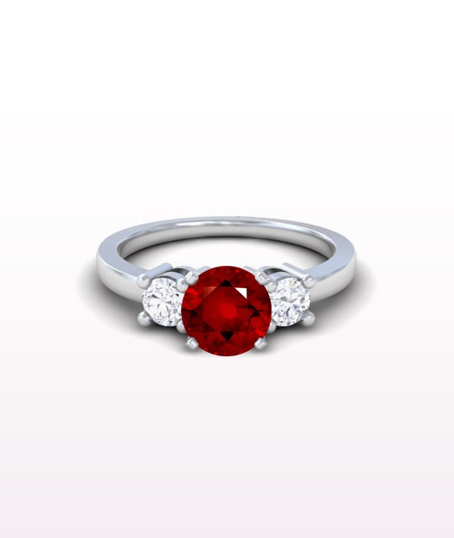 Ruby Classic Three Stone Ring