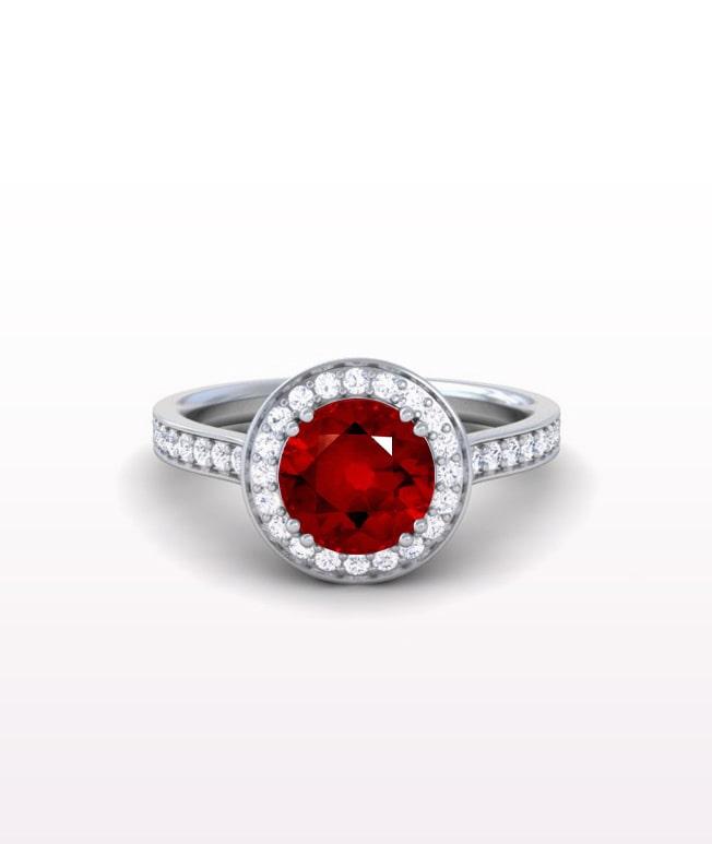 Ruby Halo Rings