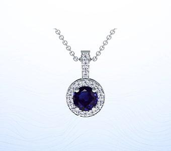 GemsNY Sapphire Side Stones Pendants