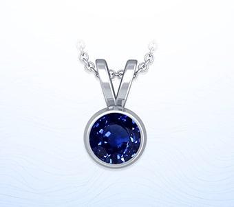 GemsNY Sapphire Solitiare Pendants