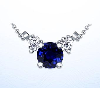 GemsNY Sapphire Three Stone Pendants