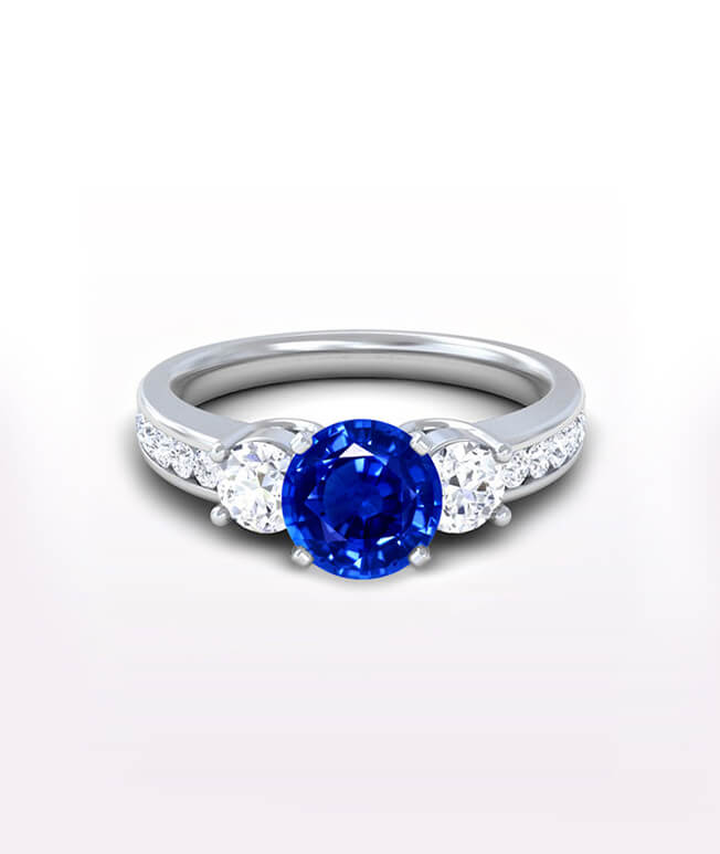 Side Stone Sapphire Rings