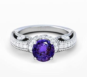 GemsNY Tanzanite Antique Engagement Rings