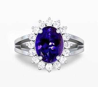 GemsNY Tanzanite Halo Engagement Rings