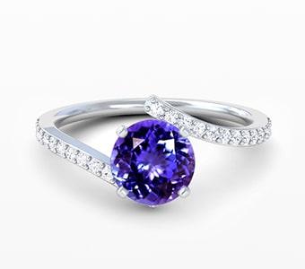 GemsNY Tanzanite Side Stones Engagement Rings