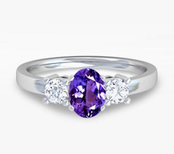 GemsNY Tanzanite Three Stone Engagement Rings