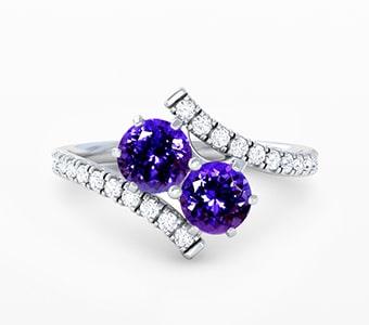GemsNY Tanzanite Two Stone Engagement Rings