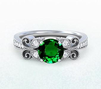 GemsNY Tsavorite Antique Engagement Rings