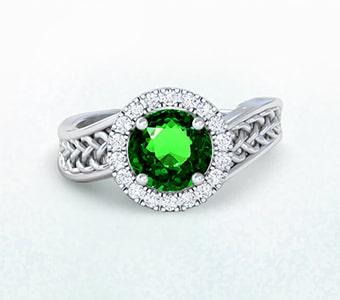 GemsNY Tsavorite Celtic Engagement Rings