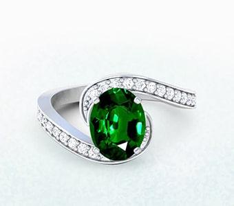 GemsNY Tsavorite Side Stones Engagement Rings