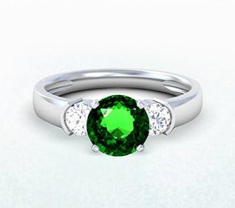 GemsNY Tsavorite Three Stone Engagement Rings