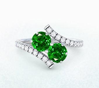 GemsNY Tsavorite Two Stone Engagement Rings