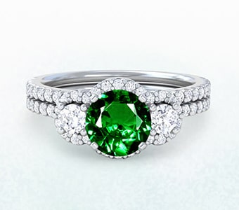 GemsNY Tsavorite Wedding Sets Engagement Rings